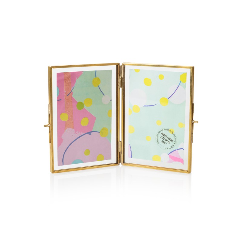 "6 x 4"" Gold & Glass Double Portrait Frame"