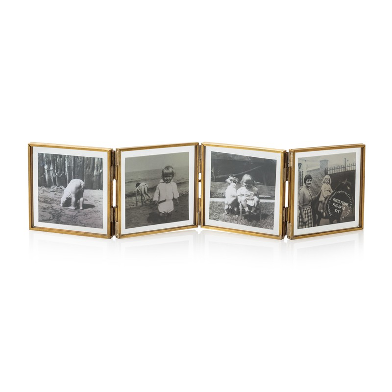 "4 x 4"" Gold & Glass Mini Square Multi Frame"