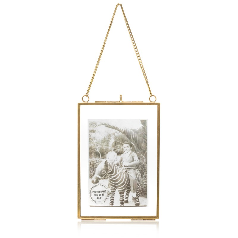 "6 x 4"" Gold & Glass Hanging Wall Frame"