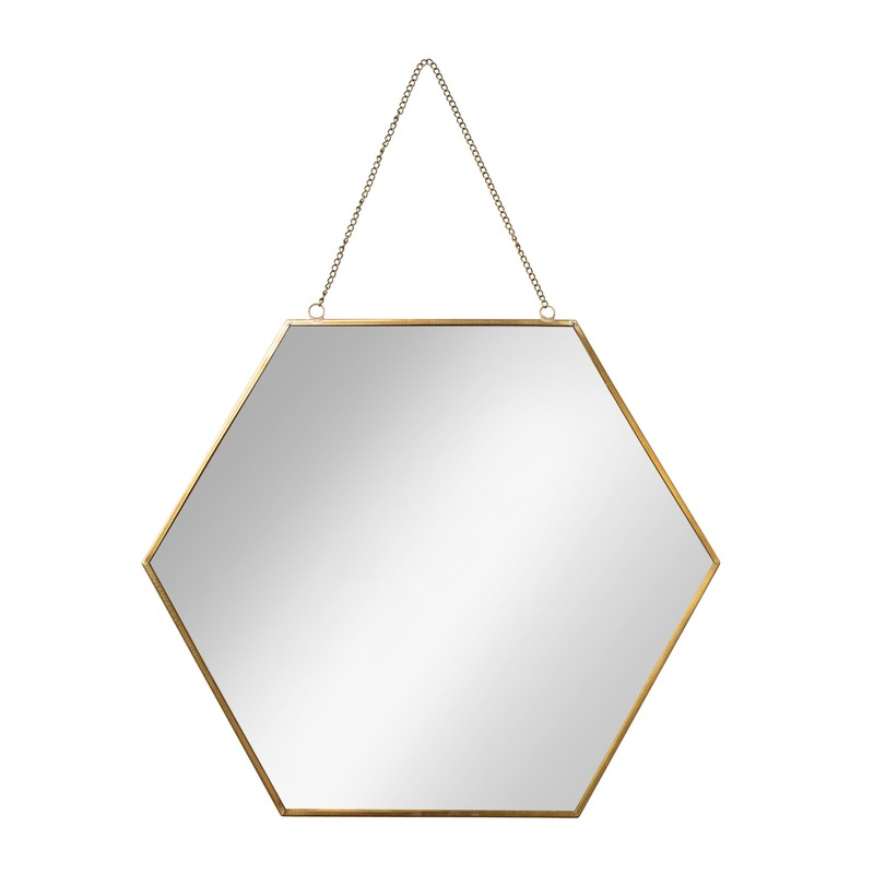 Large Gold Hexagon Mirror