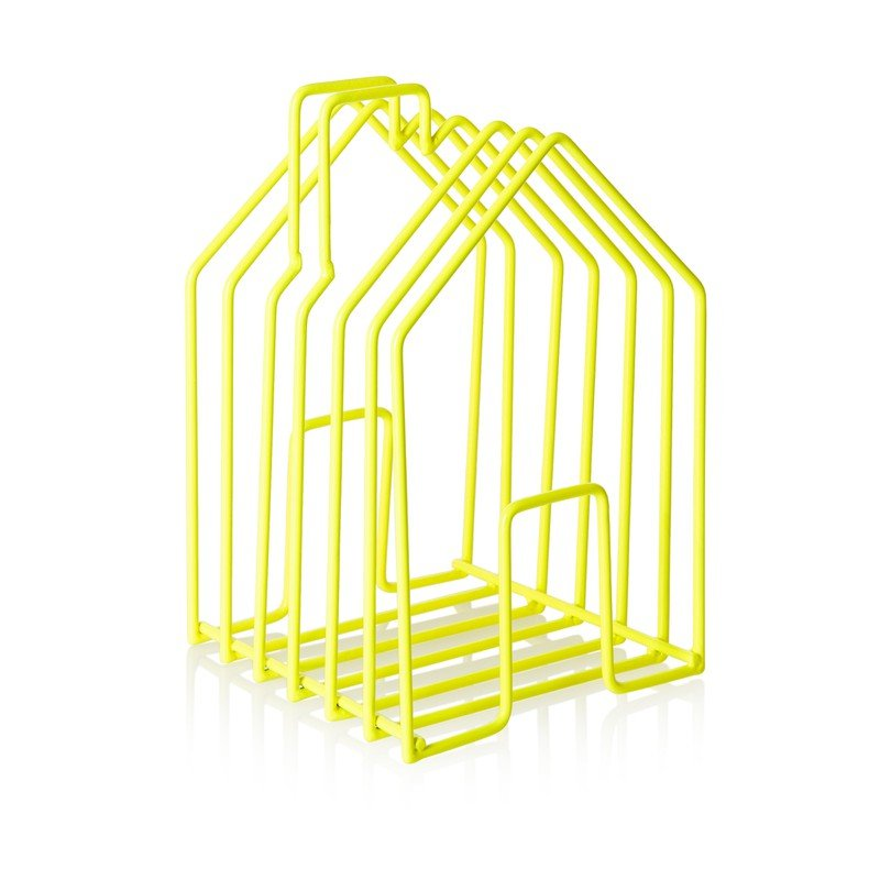 Neon Yellow Wire House Magazine Rack