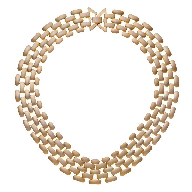 Gold Gated Coated Collar Necklace