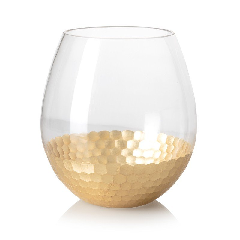 Large Gold Honeycomb Round Vase