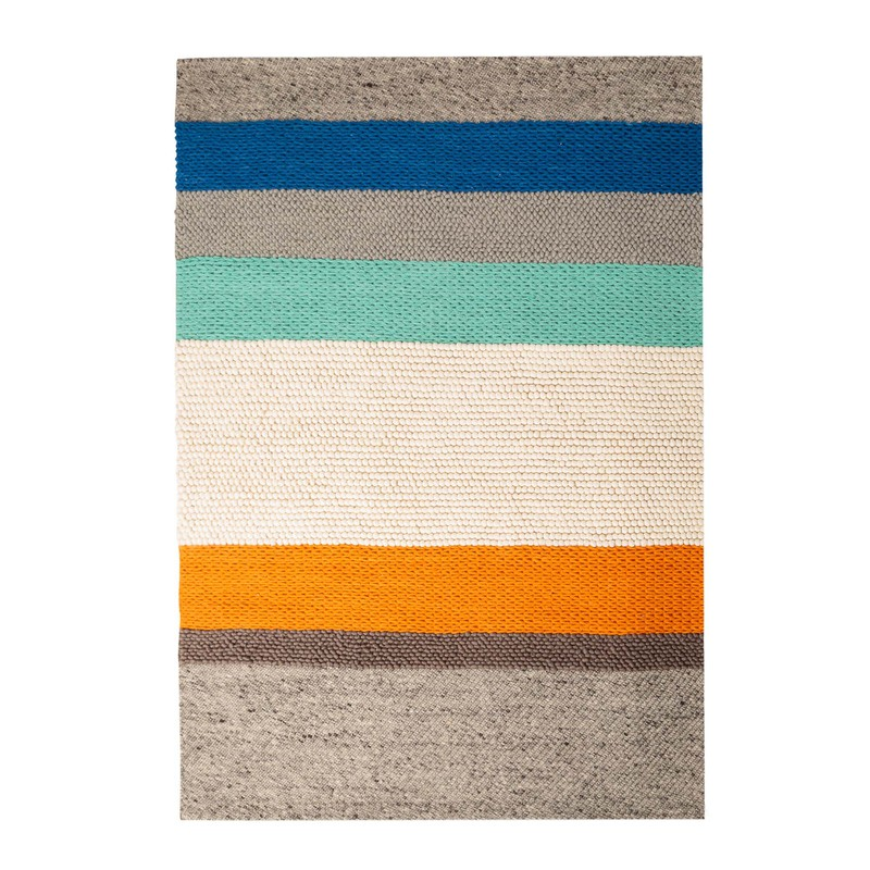 Orange Knot Striped Rug 140 x 200cm