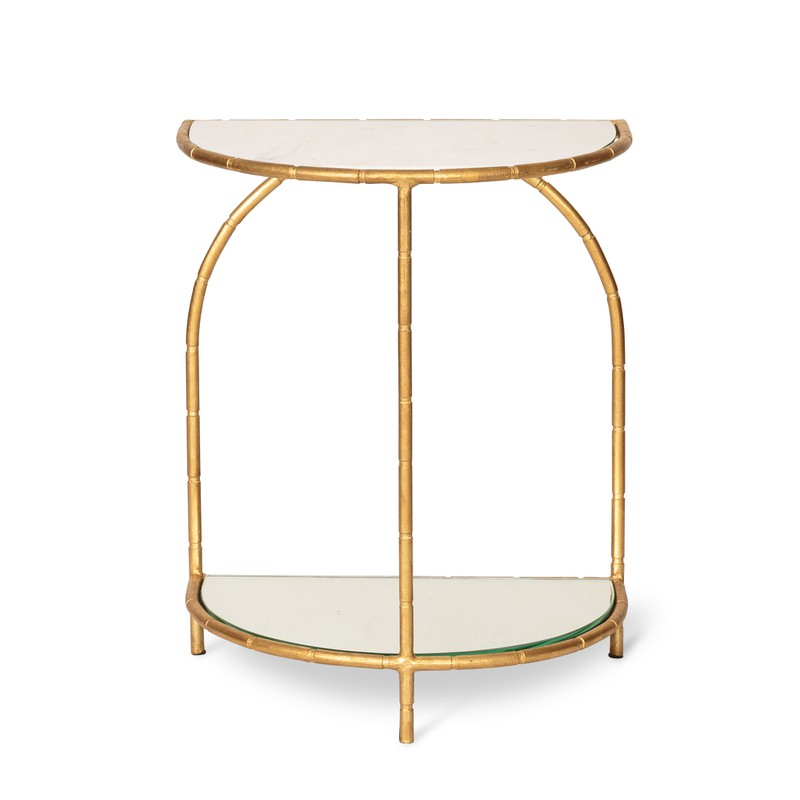 Luxe Half Moon Bamboo Side Table