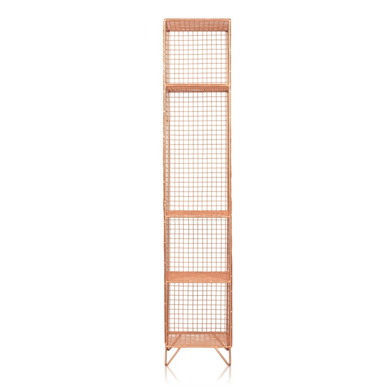 Copper Grid Four Shelf Tall Storage Unit