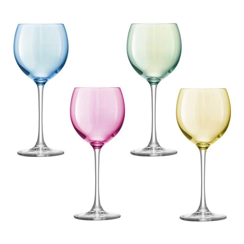 Set of Four LSA Polka Wine Glasses
