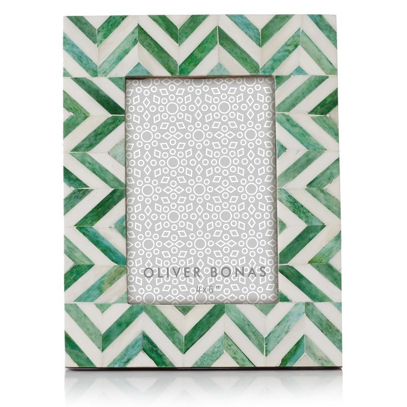 Astrid Chevron Green Photo Frame