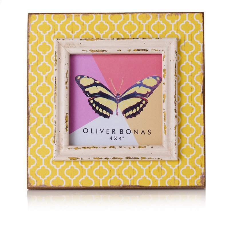 Yellow Geo Brights Frame 4 x 4""