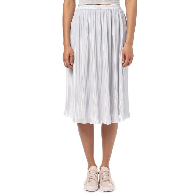 Pleated Midi Skirt with Sparkle Waistband
