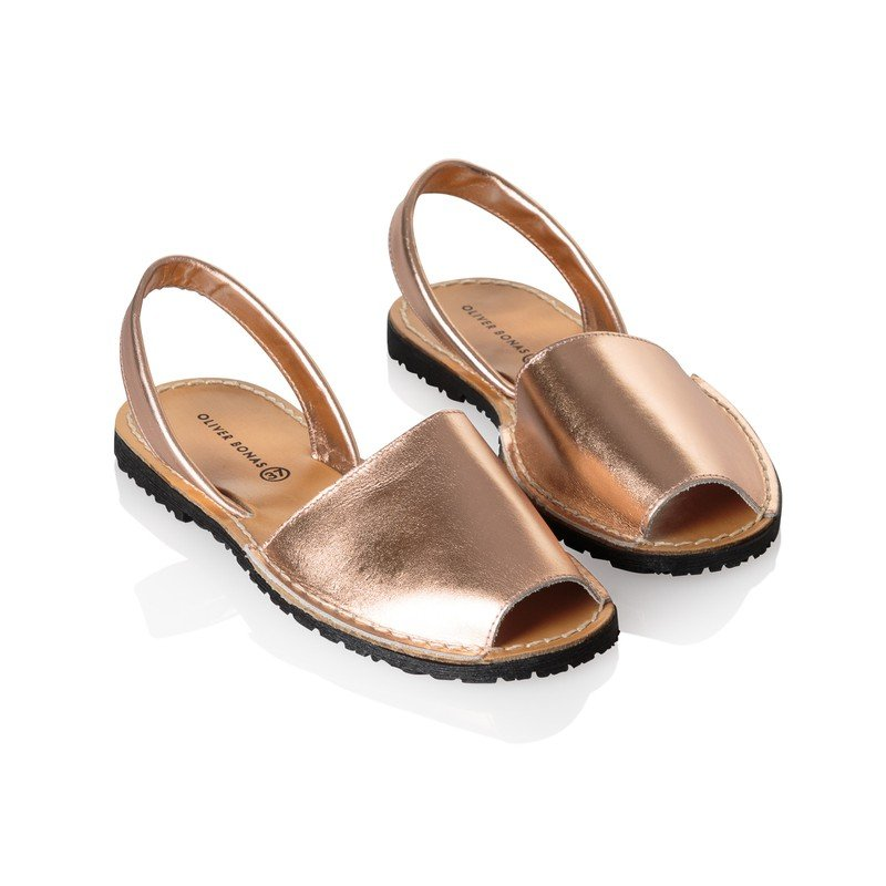 Menorquina Style Rose Gold Leather Sandals