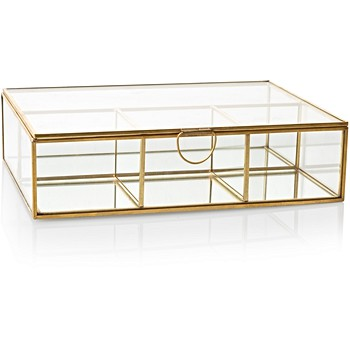 Large Gold & Glass Mirrored Jewellery Box