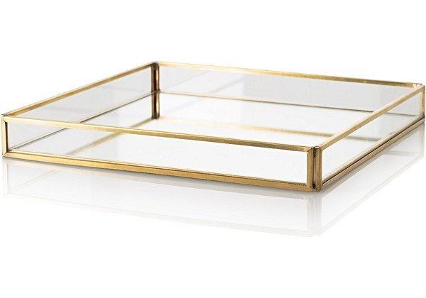 Large Gold & Glass Mirrored Tray