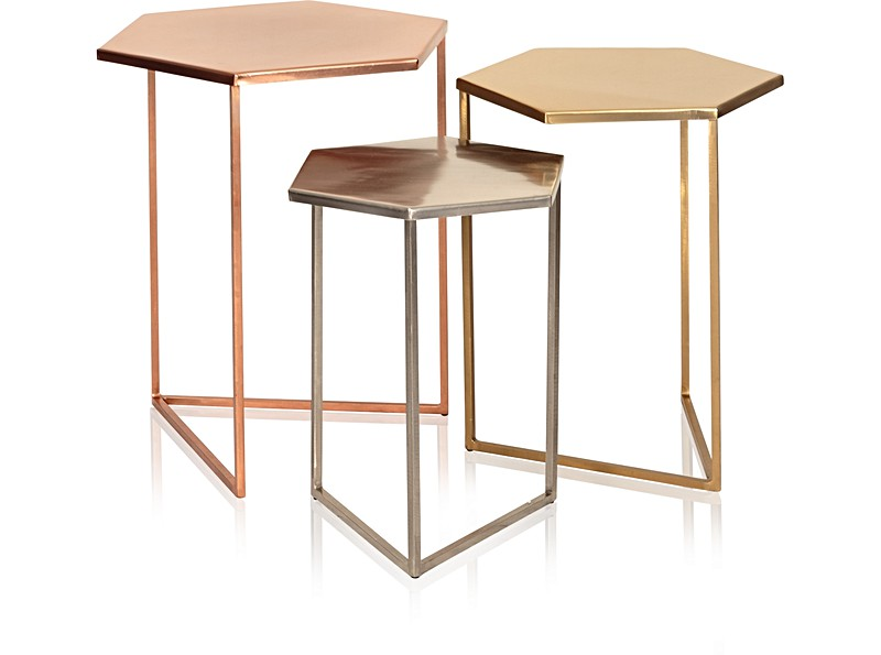 Set of Three Hexagon Metallic Nesting Tables