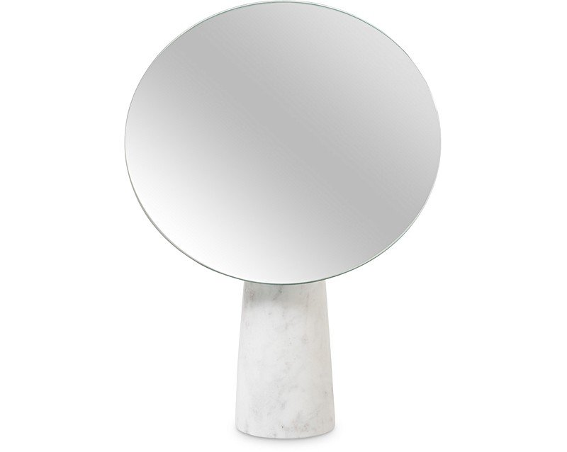 Large round marble stand mirror all oliver bonas for Large white round mirror