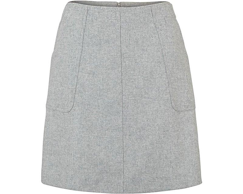Grey Matilda Wool A-Line Skirt | Oliver Bonas
