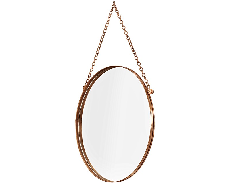 small round copper hanging mirror oliver bonas