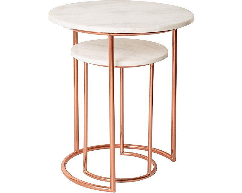 Copper marble nesting tables oliver bonas